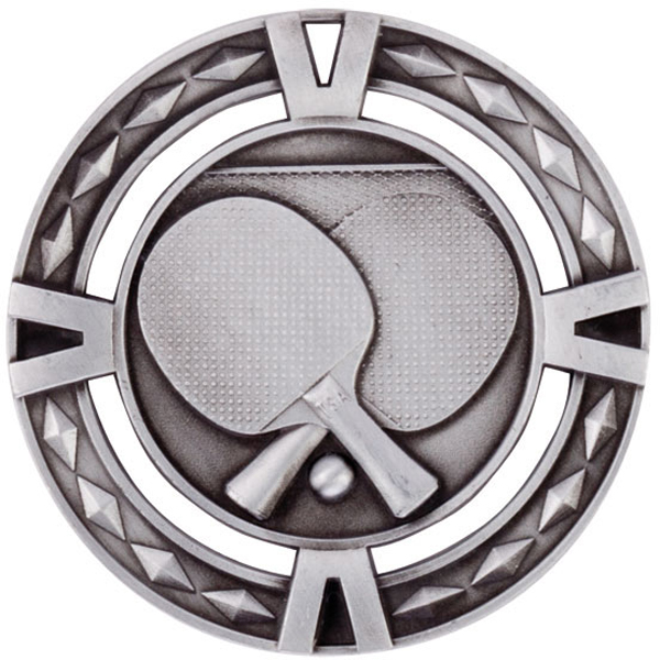 "Silver Diamond Pattern Table Tennis Medal 60mm (2.25"")"