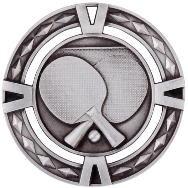 "Silver Diamond Pattern Table Tennis Medal 60mm (2.25"")"