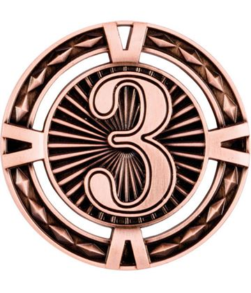 "Bronze Diamond Pattern 3rd Place Medal 60mm (2.25"")"