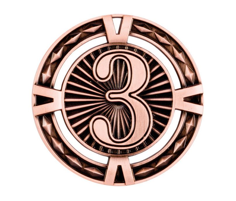 "Bronze Diamond Pattern 3rd Place Medal 60mm (2.25"")"