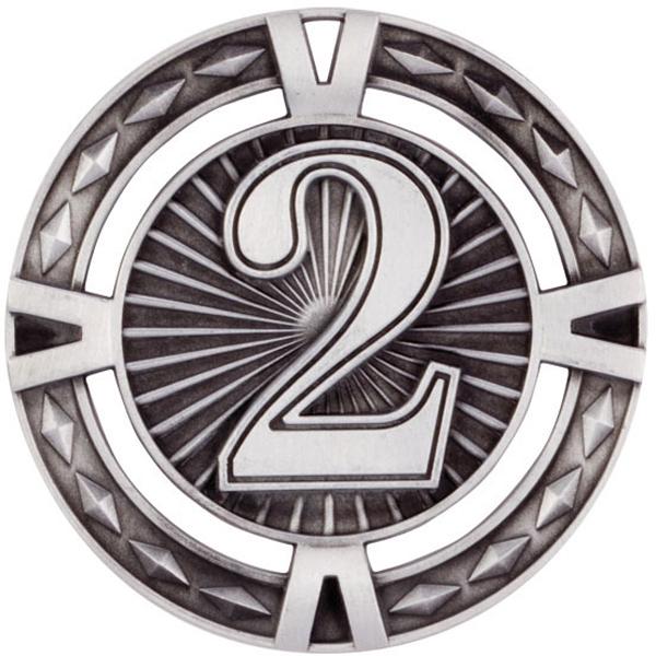 "Silver Diamond Pattern 2nd Place Medal 60mm (2.25"")"