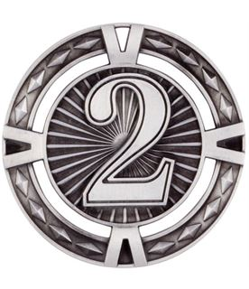 "Silver Diamond Pattern 2nd Place Medal 60mm (2.25"")"