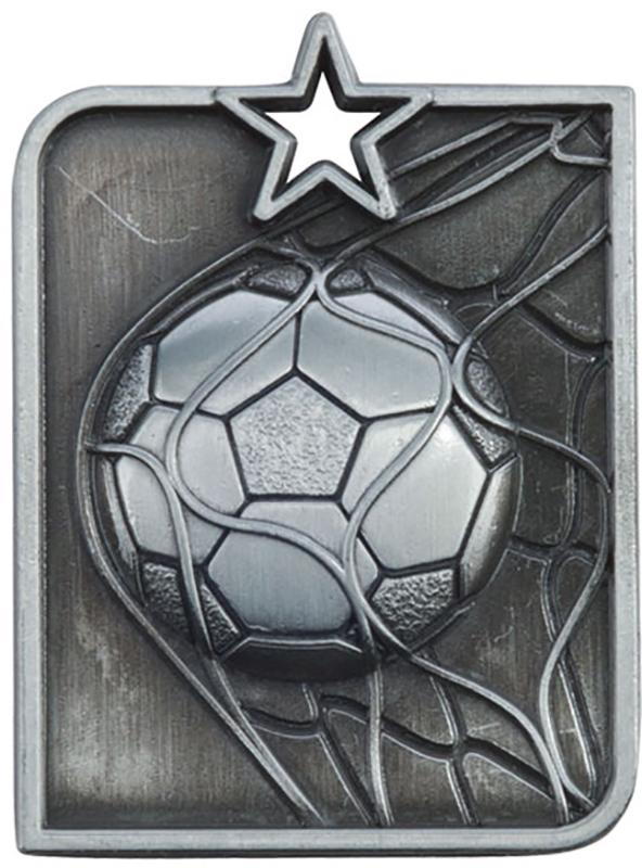 Silver Centurion Star Football Square Medal 53mm x 40mm