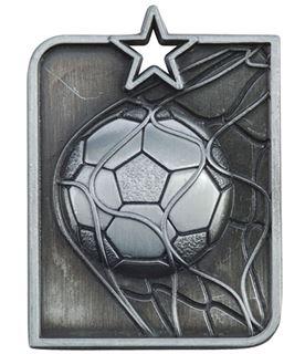 "Silver Centurion Star Football Square Medal 53mm x 40mm (2.25"" x 1.5"")"