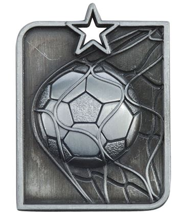 "Silver Centurion Star Football Square Medal 53mm x 40mm (2.25"" x 1.5"")"