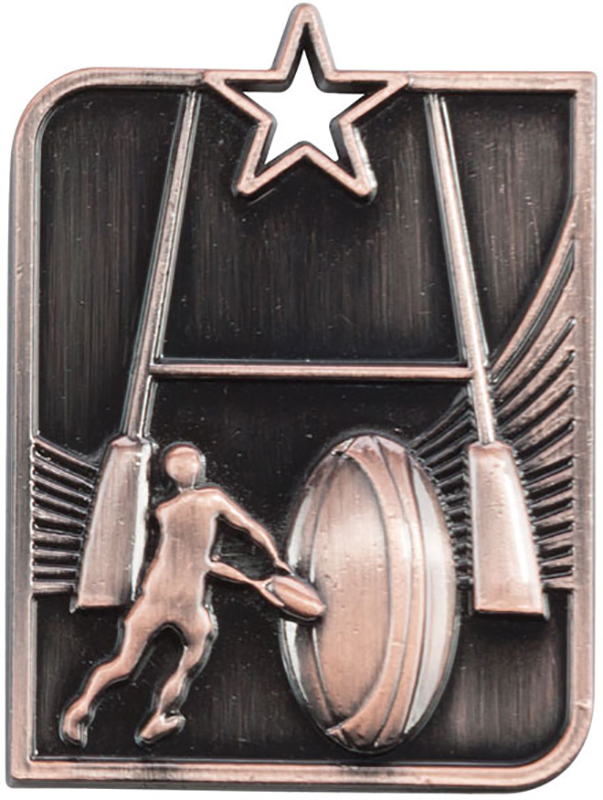 "Bronze Centurion Star Rugby Square Medal 53mm x 40mm (2.25"" x 1.5"")"
