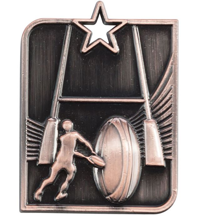 """Bronze Centurion Star Rugby Square Medal 53mm x 40mm (2.25"""" x 1.5"""")"""