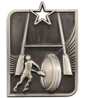 """Gold Centurion Star Rugby Square Medal 53mm x 40mm (2.25"""" x 1.5"""")"""