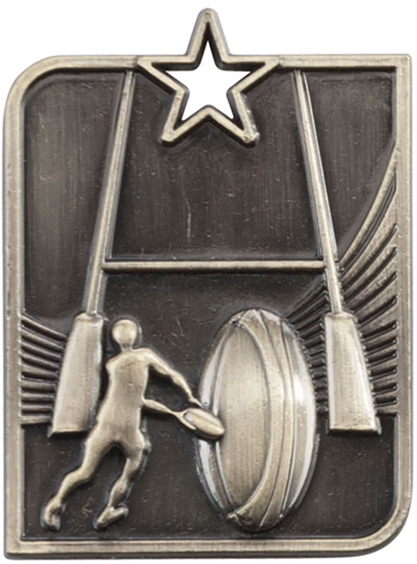 "Gold Centurion Star Rugby Square Medal 53mm x 40mm (2.25"" x 1.5"")"