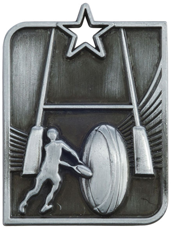 """Silver Centurion Star Rugby Square Medal 53mm x 40mm (2.25"""" x 1.5"""")"""