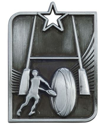 "Silver Centurion Star Rugby Square Medal 53mm x 40mm (2.25"" x 1.5"")"