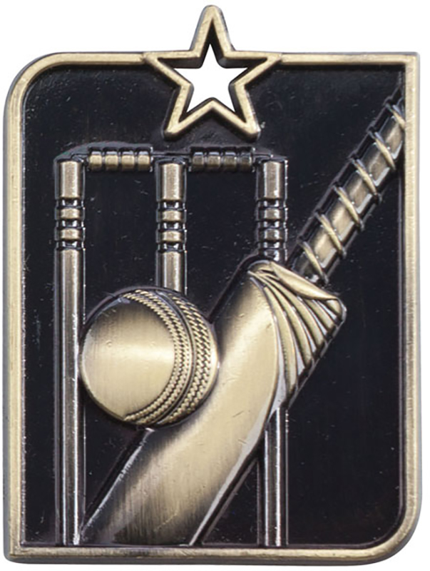 "Gold Centurion Star Cricket Square Medal 53mm x 40mm (2.25"" x 1.5"")"