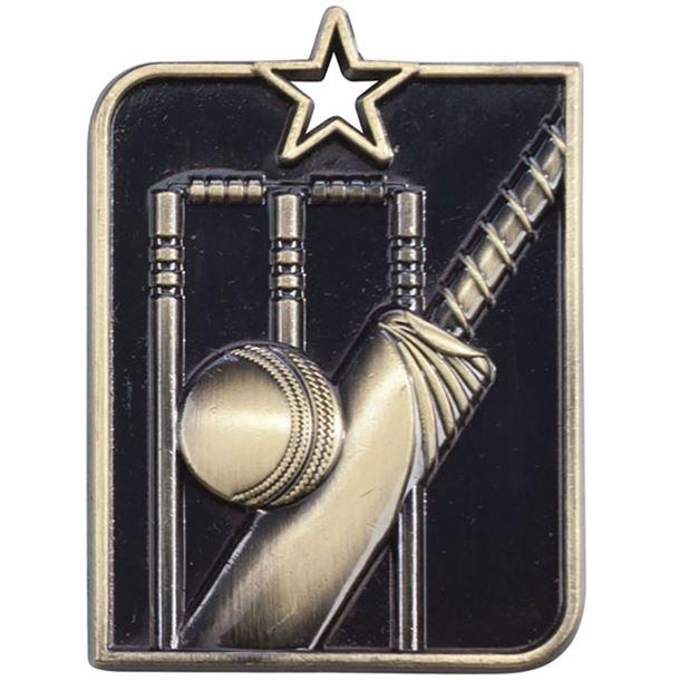 "Gold Centurion Star Cricket Square Medal 53mm x 40mm (2.25"" x 1.5"")"