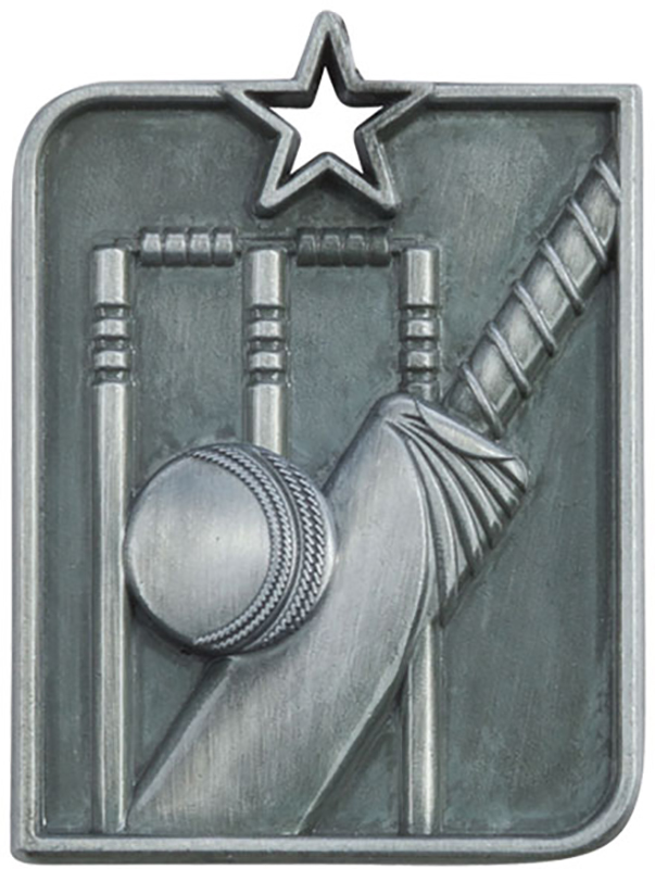 "Silver Centurion Star Cricket Square Medal 53mm x 40mm (2.25"" x 1.5"")"