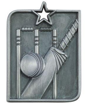 "Silver Centurion Star Cricket Square Medal 53mm x 40mm (2.25"" x 1.5"")"