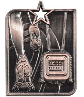 "Bronze Centurion Star Running Square Medal 53mm x 40mm (2.25"" x 1.5"")"