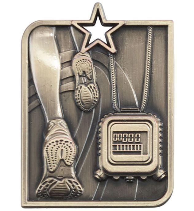 "Gold Centurion Star Running Square Medal 53mm x 40mm (2.25"" x 1.5"")"