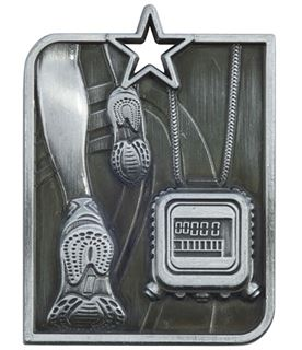 "Silver Centurion Star Running Square Medal 53mm x 40mm (2.25"" x 1.5"")"