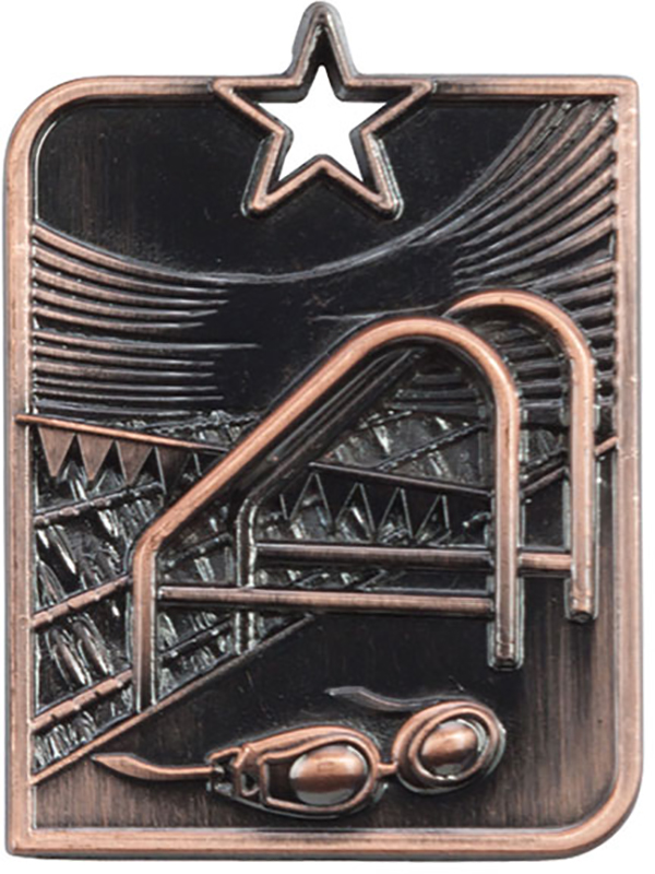 "Bronze Centurion Star Swimming Square Medal 53mm x 40mm (2.25"" x 1.5"")"
