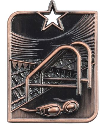 "Bronze Centurion Star Swimming Square Medal 53mm x 40mm (2.25"" x 1.5"")"
