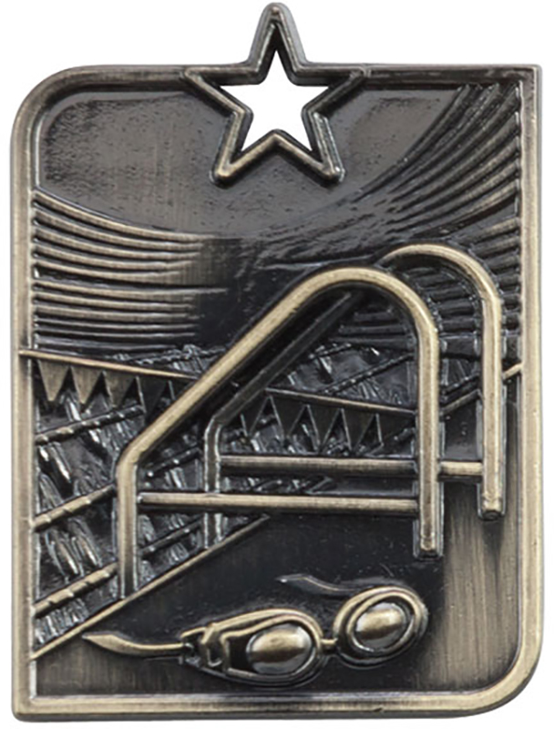 "Gold Centurion Star Swimming Square Medal 53mm x 40mm (2.25"" x 1.5"")"