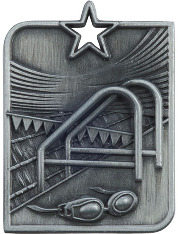 "Silver Centurion Star Swimming Square Medal 53mm x 40mm (2.25"" x 1.5"")"