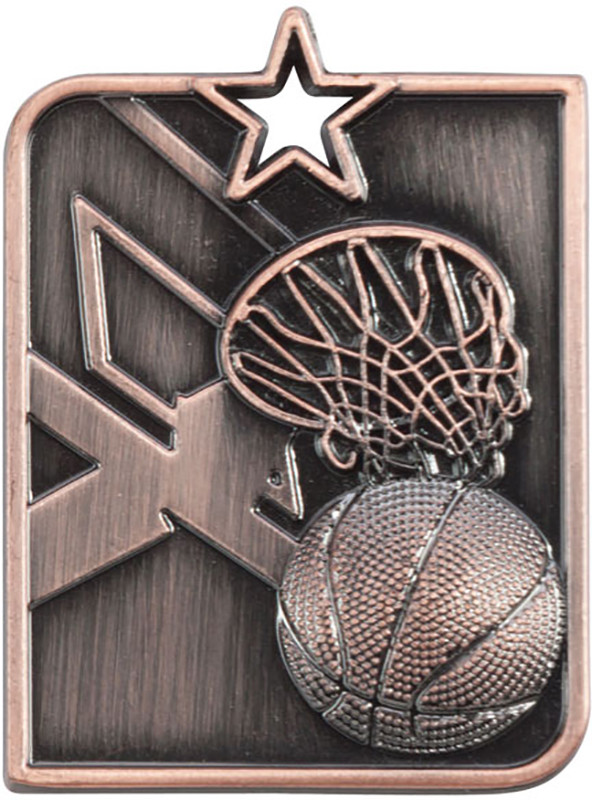 Bronze Centurion Star Basketball Square Medal 53mm x 40mm