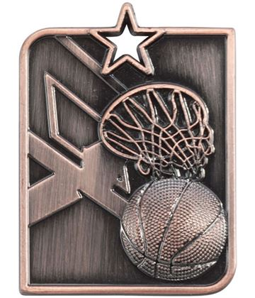 "Bronze Centurion Star Basketball Square Medal 53mm x 40mm (2.25"" x 1.5"")"