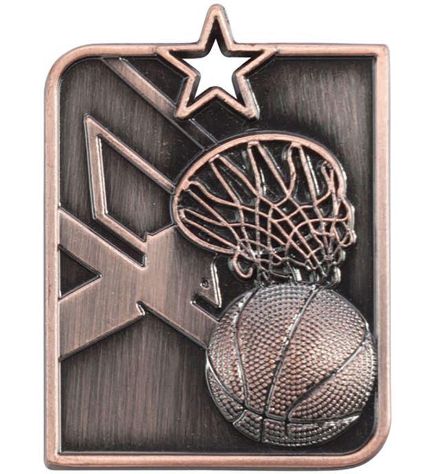 "Bronze Centurion Star Basketball Square Medal 53mm x 40mm (2.25"" x 1.5"")"