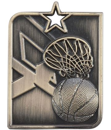 "Gold Centurion Star Basketball Square Medal 53mm x 40mm (2.25"" x 1.5"")"