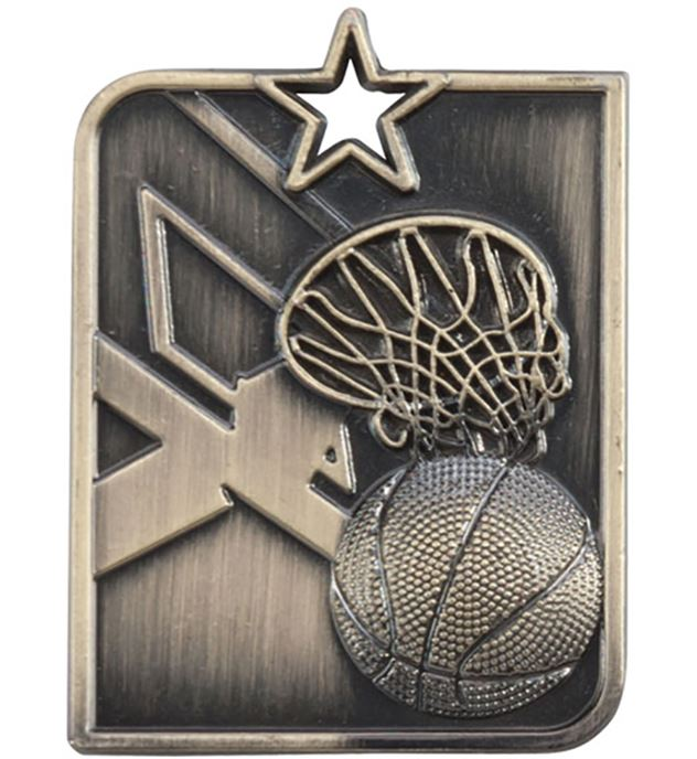 "Gold Centurion Star Basketball Square Medal 53mm x 40mm (2.25"" x 1.5"")"