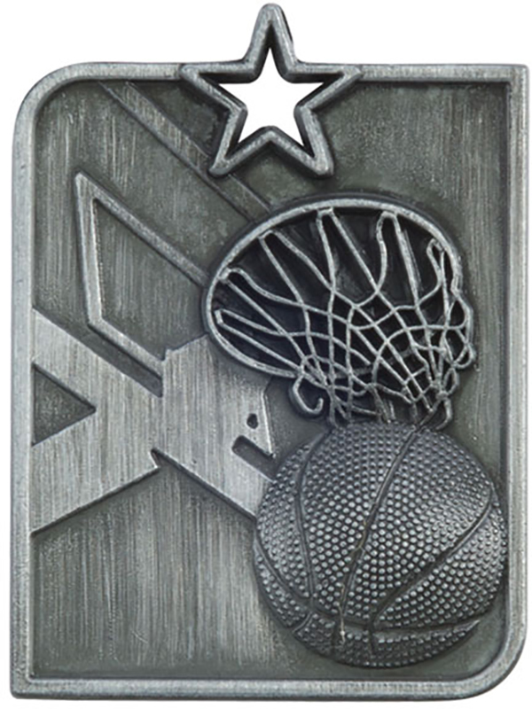 Silver Centurion Star Basketball Square Medal 53mm x 40mm