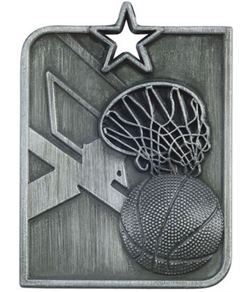 "Silver Centurion Star Basketball Square Medal 53mm x 40mm (2.25"" x 1.5"")"
