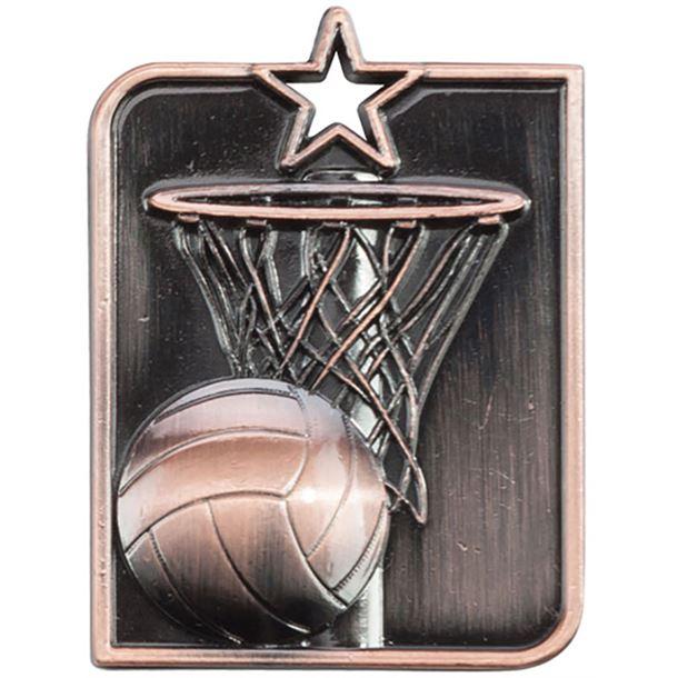 "Bronze Centurion Star Netball Square Medal 53mm x 40mm (2.25"" x 1.5"")"