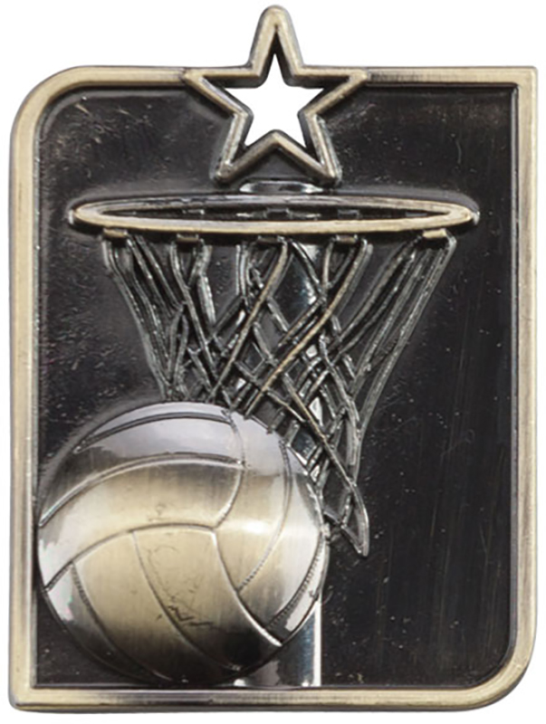 "Gold Centurion Star Netball Square Medal 53mm x 40mm (2.25"" x 1.5"")"