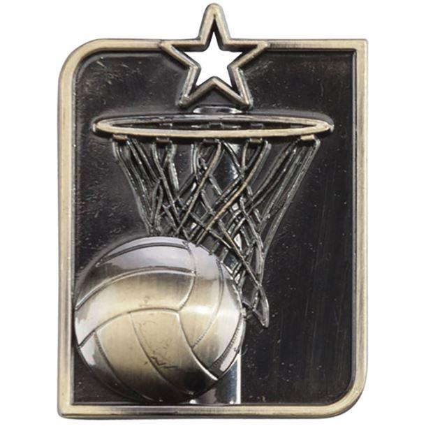 "Gold Centurion Star Netball Square Medal 53mm x 40mm (2.25"" x 1.5"")"