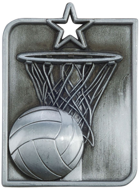 "Silver Centurion Star Netball Square Medal 53mm x 40mm (2.25"" x 1.5"")"