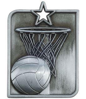 "Silver Centurion Star Netball Square Medal 53mm x 40mm (2.25"" x 1.5"")"