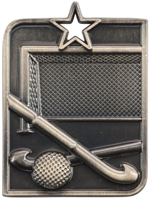 "Gold Centurion Star Hockey Square Medal 53mm x 40mm (2.25"" x 1.5"")"