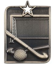 "Gold Centurion Star Hockey Square Medal 53mm x 40mm (2.25"" x 1.5"")"