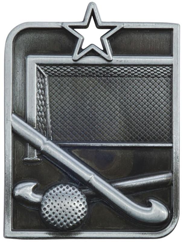 "Silver Centurion Star Hockey Square Medal 53mm x 40mm (2.25"" x 1.5"")"