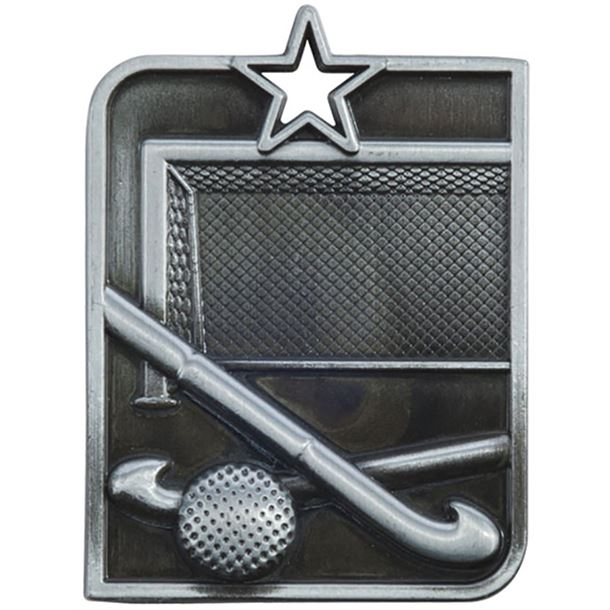 "Silver Centurion Star Hockey Square Medal 53mm x 40mm (2.25"" x 1.5"")"
