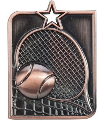 "Bronze Centurion Star Tennis Square Medal 53mm x 40mm (2.25"" x 1.5"")"