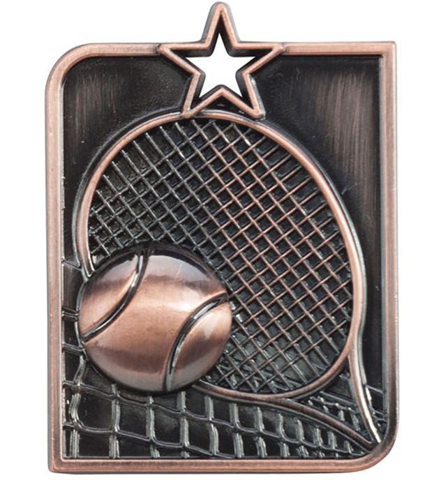 "Bronze Centurion Star Tennis Square Medal 53mm x 40mm (2.25"" x 1.5"")"