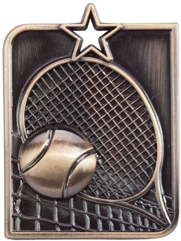 "Gold Centurion Star Tennis Square Medal 53mm x 40mm (2.25"" x 1.5"")"