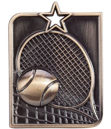 "Gold Centurion Star Tennis Square Medal 53mm x 40mm (2.25"" x 1.5"")"