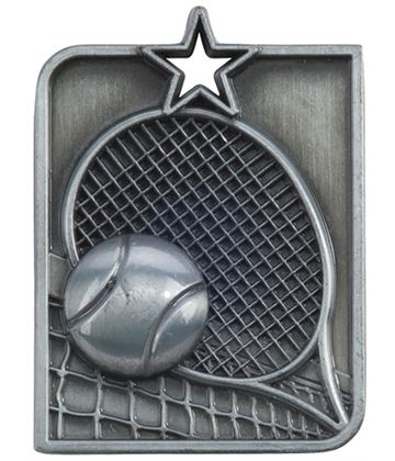 "Silver Centurion Star Tennis Square Medal 53mm x 40mm (2.25"" x 1.5"")"