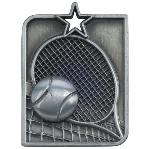 "Silver Centurion Star Tennis Square Medal 53mm x 40mm (2.25"" x 1.5"")"