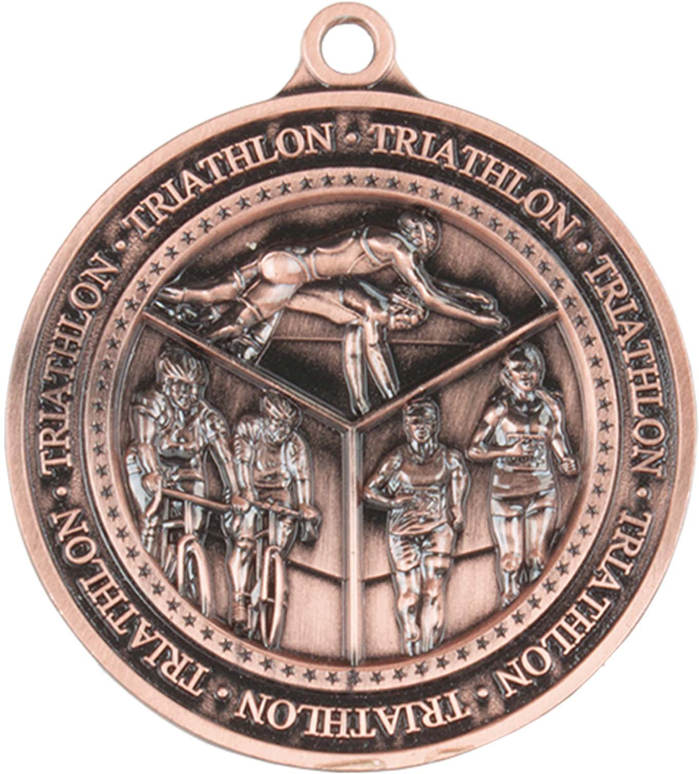 "Antique Bronze Olympia Triathlon Medal 60mm (2.25"")"