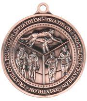"Antique Bronze Olympia Triathlon Medal 60mm (2.25"")"